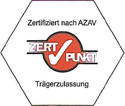 Zertifiziert nach AZAV - ZertPunkt - Trägerzulassung
